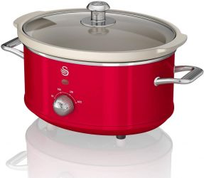 Oala electrica Slow cooker Swan SF17021RN, Retro, Capacitate 3.5 Litri, Vas ceramic