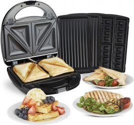 Sandwich/Panini si Waffle Maker 3-in-1 VonShef 2000120, Putere 700W